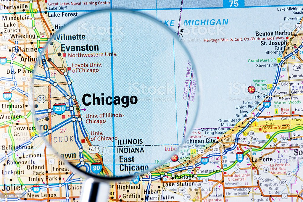 Cities Under Magnifying Glass On Map Chicago Stock Photo More