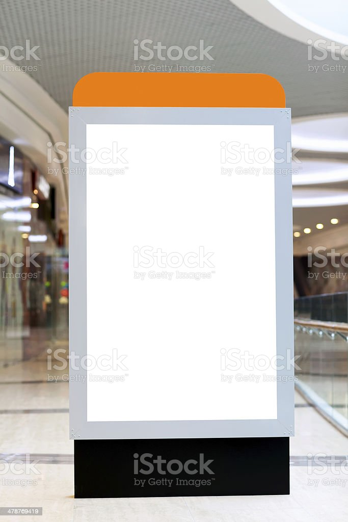 Citilayts with blank screen stands in a megastore stock photo