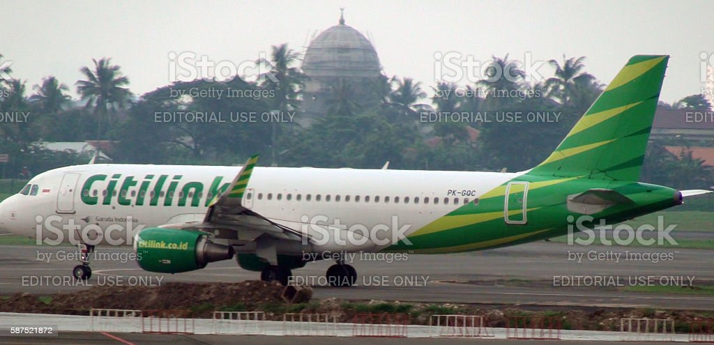 Citilink Airline Airplane Taxiing To Take Off From Jakarta Airport.Indonesia.Asia stock photo