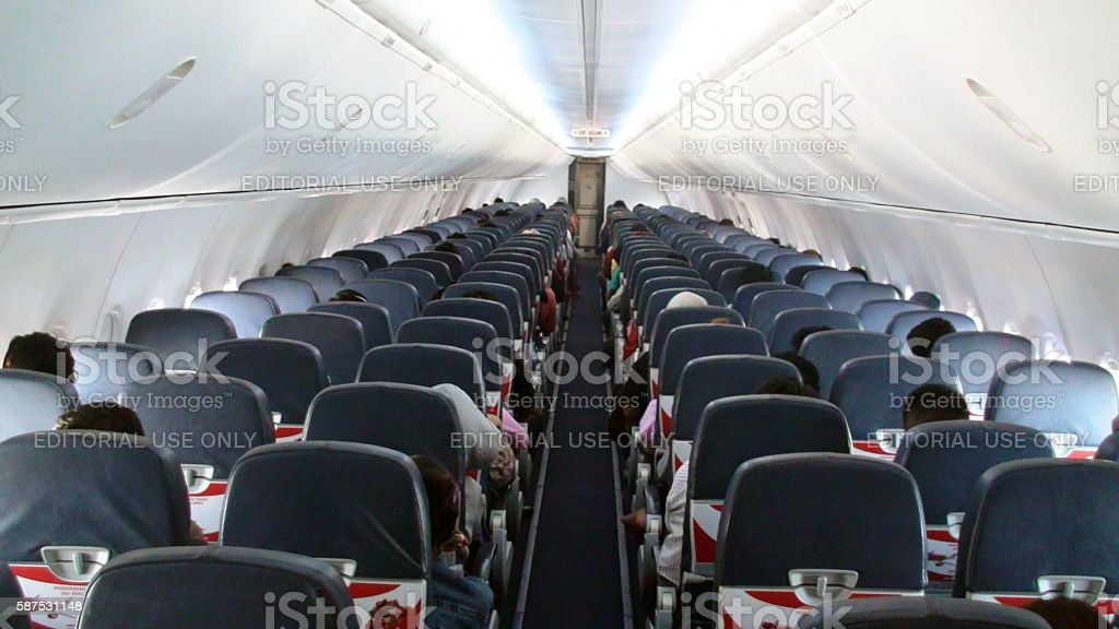 Citilink Airline Interior Seats And People Sitting Down.Jakarta.Indonesia.Asia stock photo