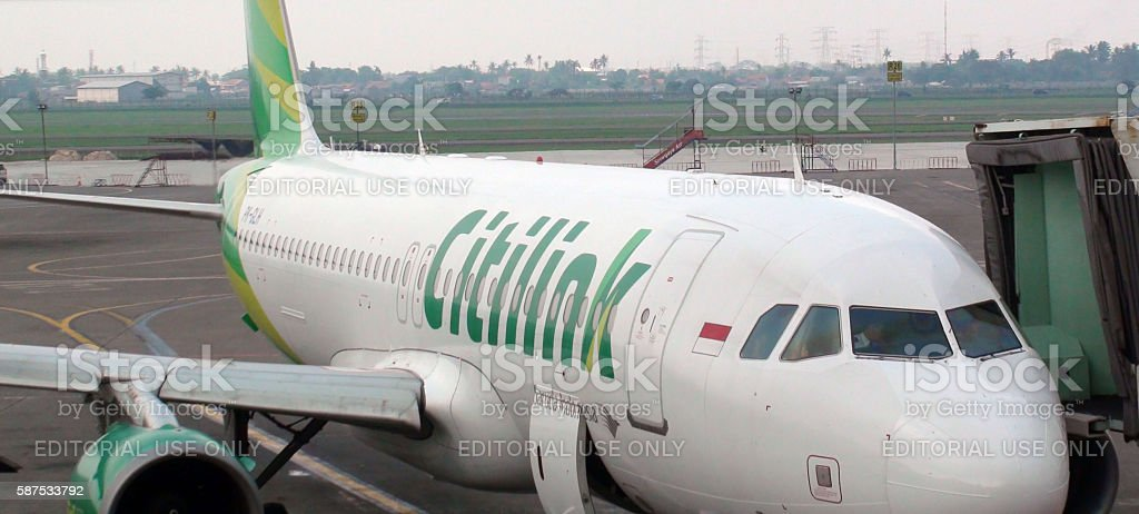 Citilink Airline Parked At Loading Gate Of Jakarta International Airport.Indonesia.Asia stock photo
