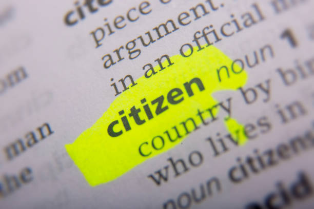 citizen printed and defined in the english dictionary - citizenship stock photos and pictures