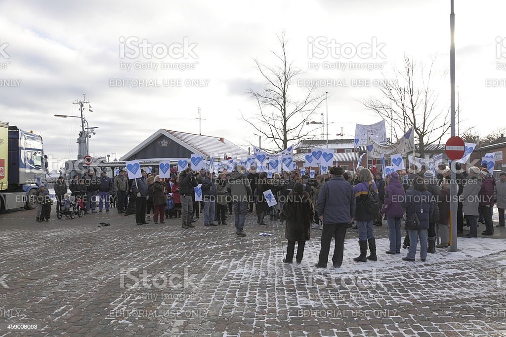 Citizens demonstrating against pirates holding sailors captive in Ethiopia stock photo