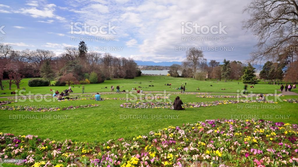 Citizens in the lawn and flowers royalty-free stock photo