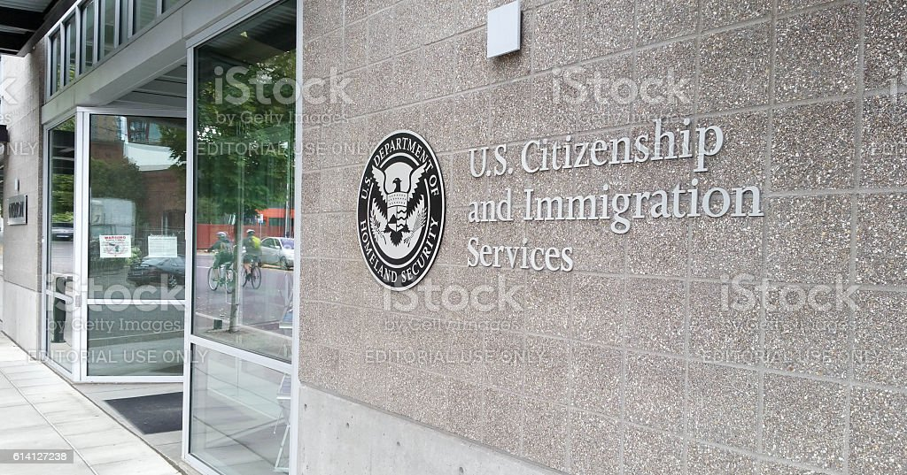 U.S. Citizenship and Immigration Services Office (USCIS) stock photo