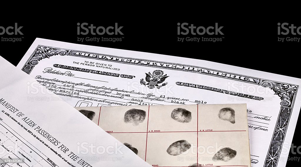US Citizenship Papers stock photo