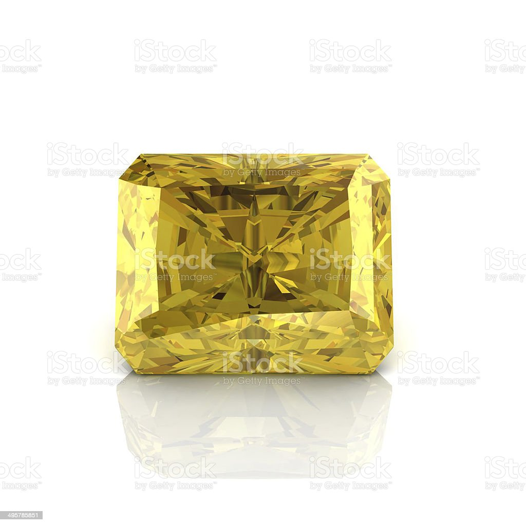 Citrine Emerald shape stock photo