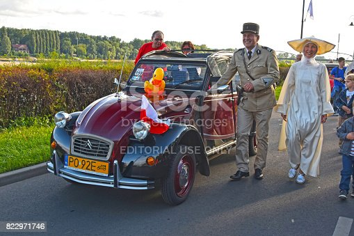 Torun, Poland - 31 July, 2015: Classic Citroen 2CV during the parade on the 21. International Meeting of 2CV Friends. The participants of the parade dressed in interesting costumes for example referring to a movie