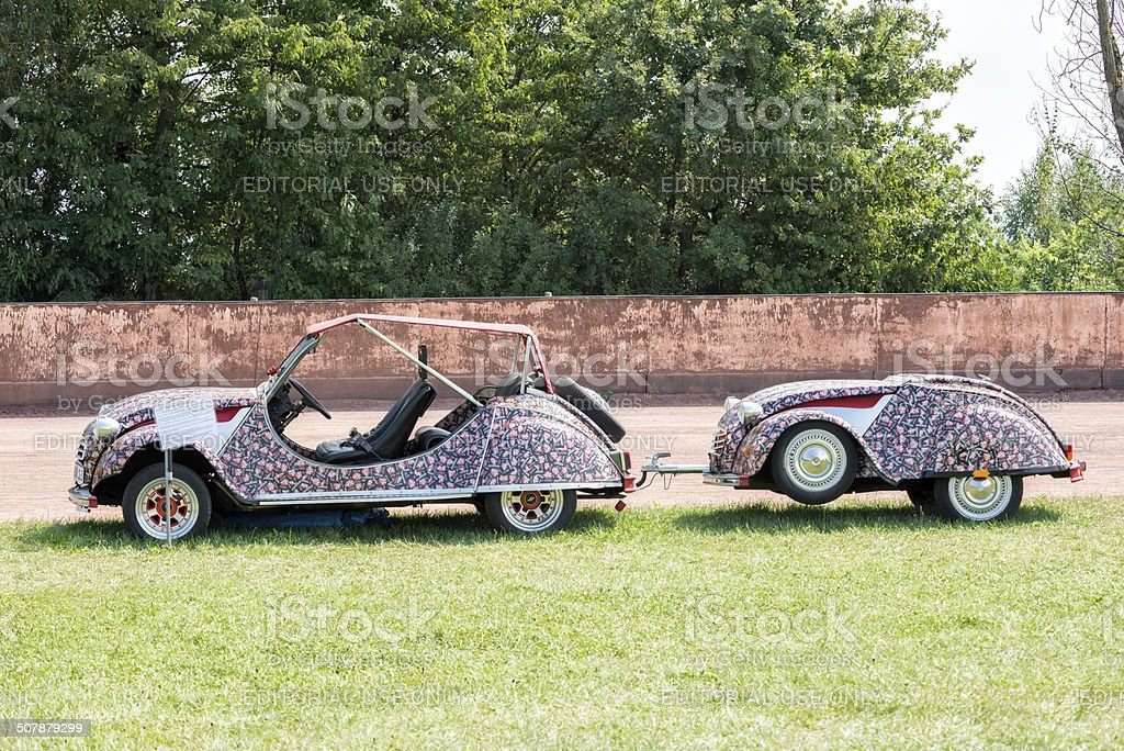 citroen 2cv convertible with trailer stock photo istock. Black Bedroom Furniture Sets. Home Design Ideas