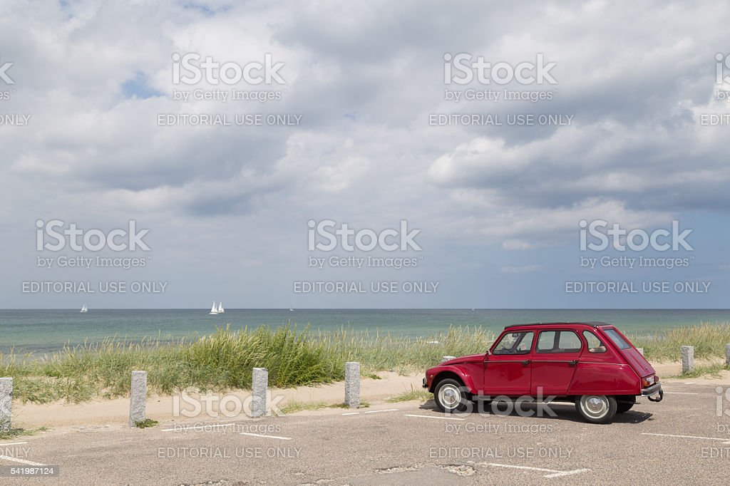 Citroen 2cv Dyane standing at Tisvilde beach, Denmark stock photo