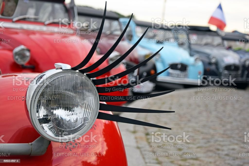 Citroen 2cv Headlight With Artificial Eyelashes Stock Photo More
