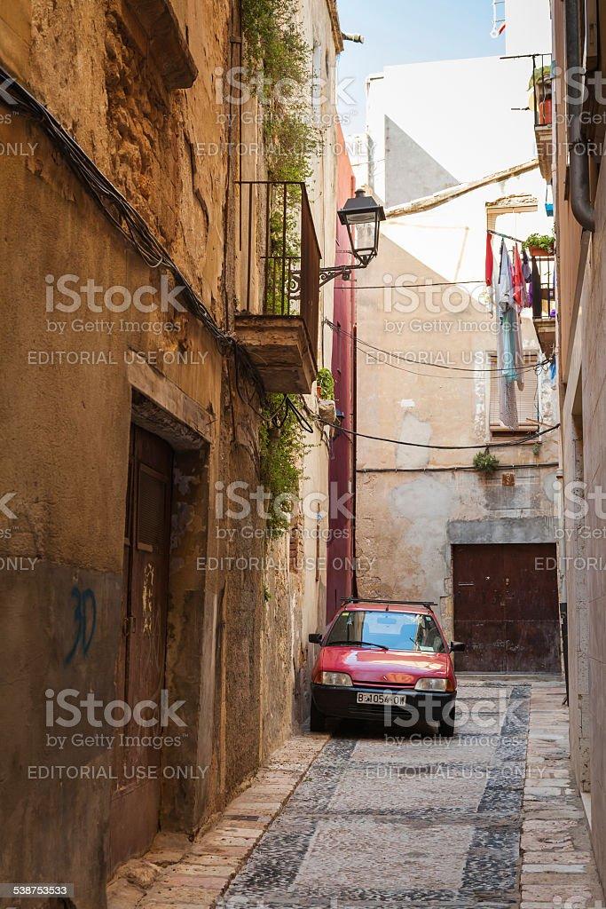 Citroen car parked on the narrow street in Tarragona stock photo