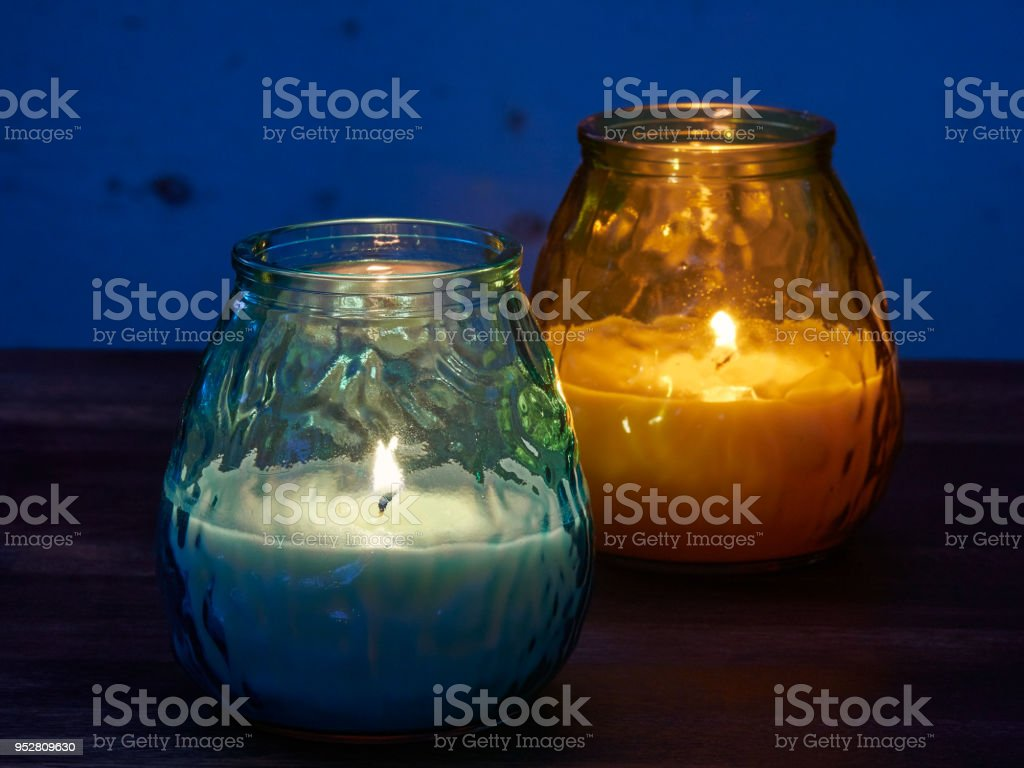 Citronella candles used as mosquito repellant stock photo