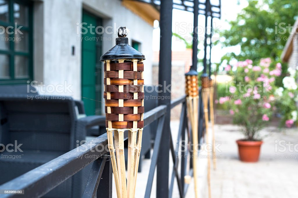 Citronella torch outdoor stock photo