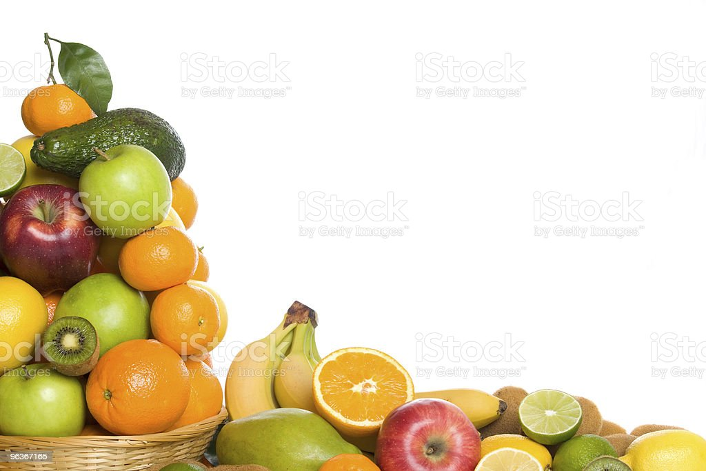 Citrus and tropical fruit on white background royalty-free stock photo