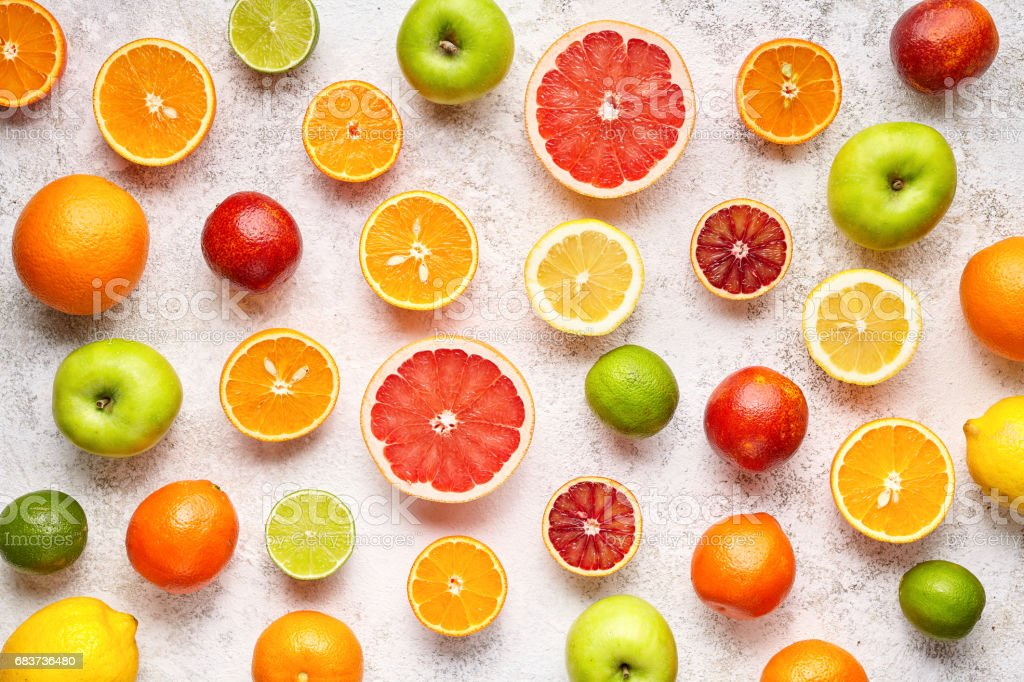 Citrus Colorful Fruits Background Mix Flat Lay Summer