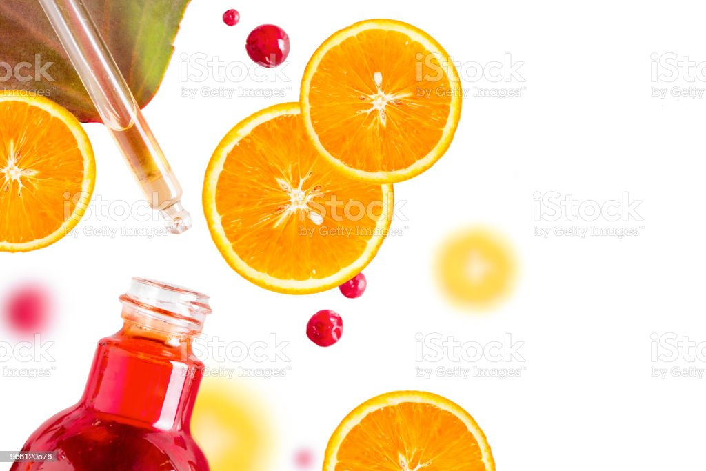 Citrus essential oil, vitamin c serum, beauty care aroma therapy. Organic Spa Cosmetic With Herbal Ingredients - Royalty-free Above Stock Photo