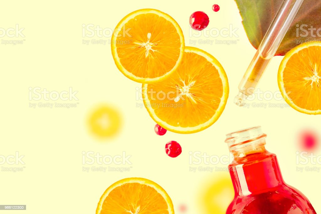 Citrus essential oil, vitamin c serum, beauty care aroma therapy. Organic Spa Cosmetic With Herbal Ingredients Toning - Royalty-free Above Stock Photo