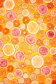 Full frame wallpaper of grapefruit, lime, lemon, and orange slices.