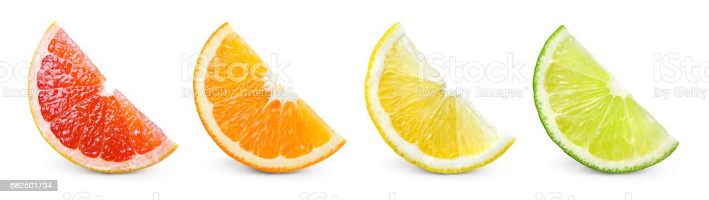 Citrus fruit. Orange, lemon, lime, grapefruit. Slices isolated on white background. Collection. - Photo