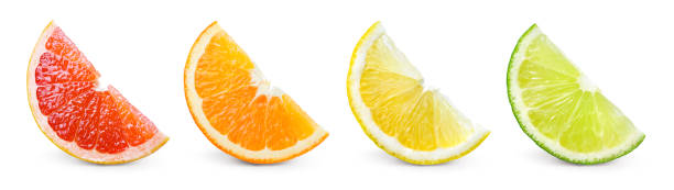 Citrus fruit. Orange, lemon, lime, grapefruit. Slices isolated on white background. Collection. stock photo