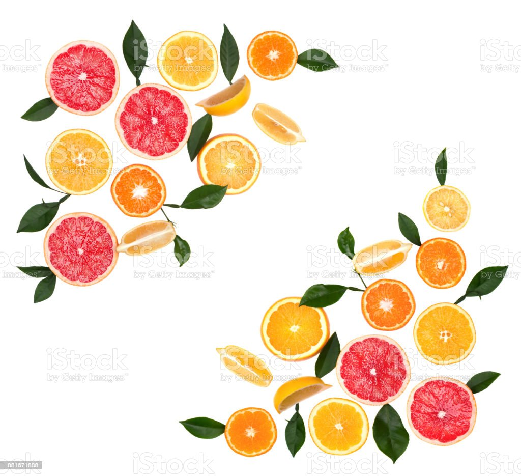 Citrus fruits isolated on white background. Isolated citrus fruits. Pieces of lemon, pink grapefruit and orange isolated on white background, with clipping path. Top view stock photo