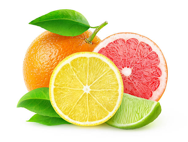 citrus fruits isolated on white, with clipping path - 柑橘類水果 個照片及圖片檔