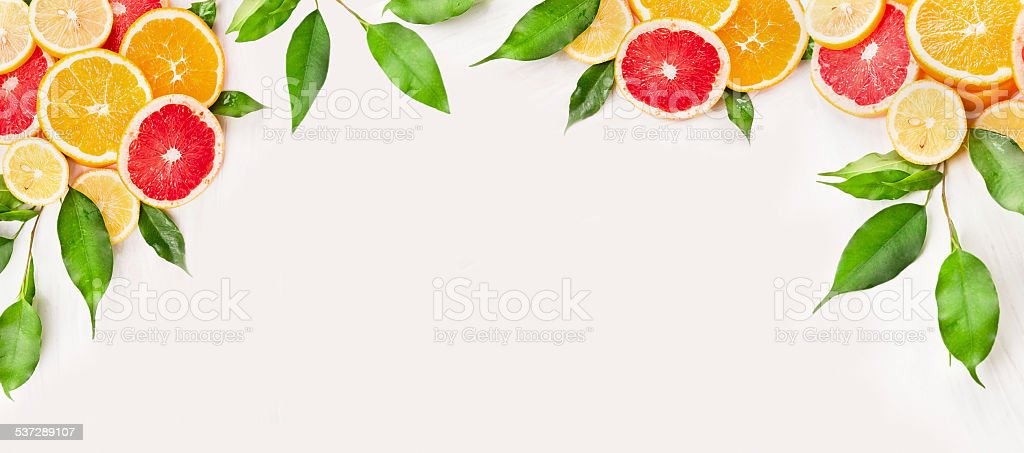 Citrus fruits slice with green leaves , banner for website stock photo