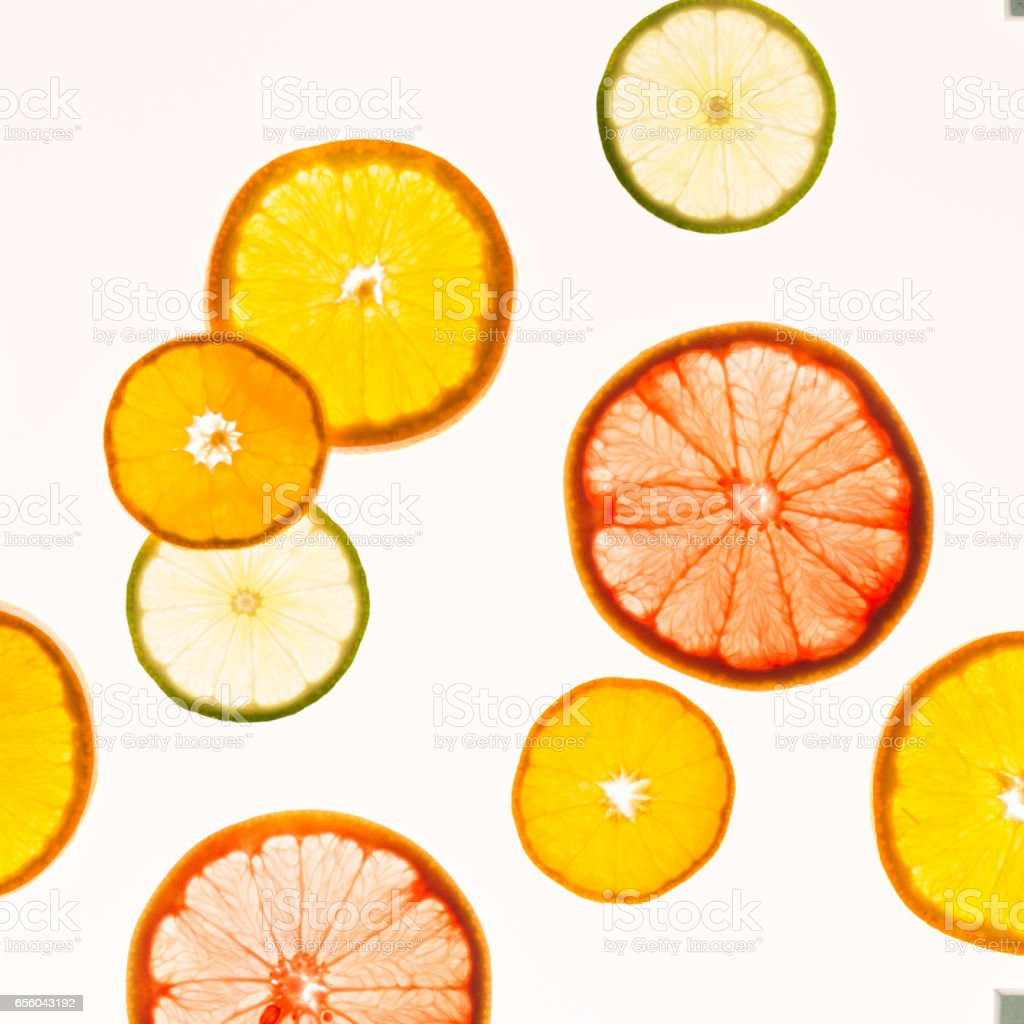 Citrus fruits. Variety concept. Healthy food. Abstract art stock photo