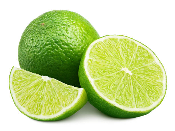 Citrus lime fruit with slice and half isolated on white Citrus lime fruit with slice and half isolated on white background. Lime citrus fruit with clipping path lime stock pictures, royalty-free photos & images