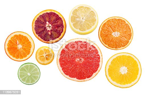 Citrus fruits rings, wheels or round slices, top view