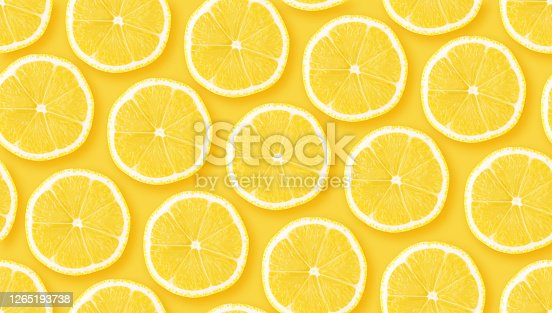 Lemon citrus slices seamless backdrop texture. Flat lay backdrop