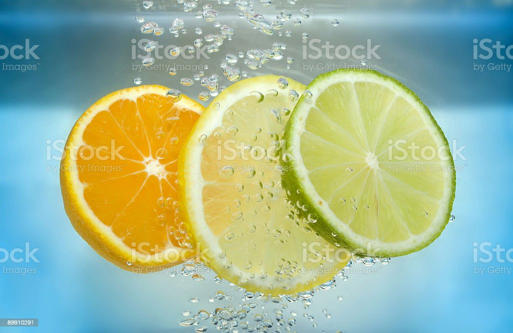 Citrus slice in water royalty-free stock photo