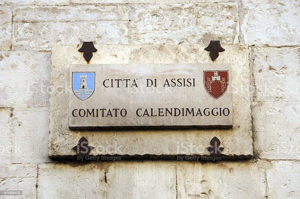 Citta di Assisi wall plaque royalty-free stock photo