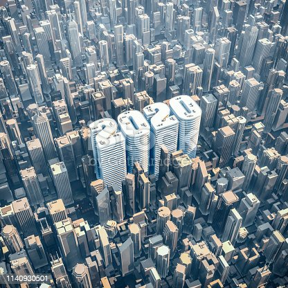 3D illustration of aerial city view with text 2020 shaped buildings in midtown