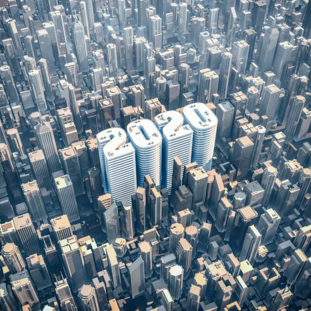 City 2020 concept stock photo