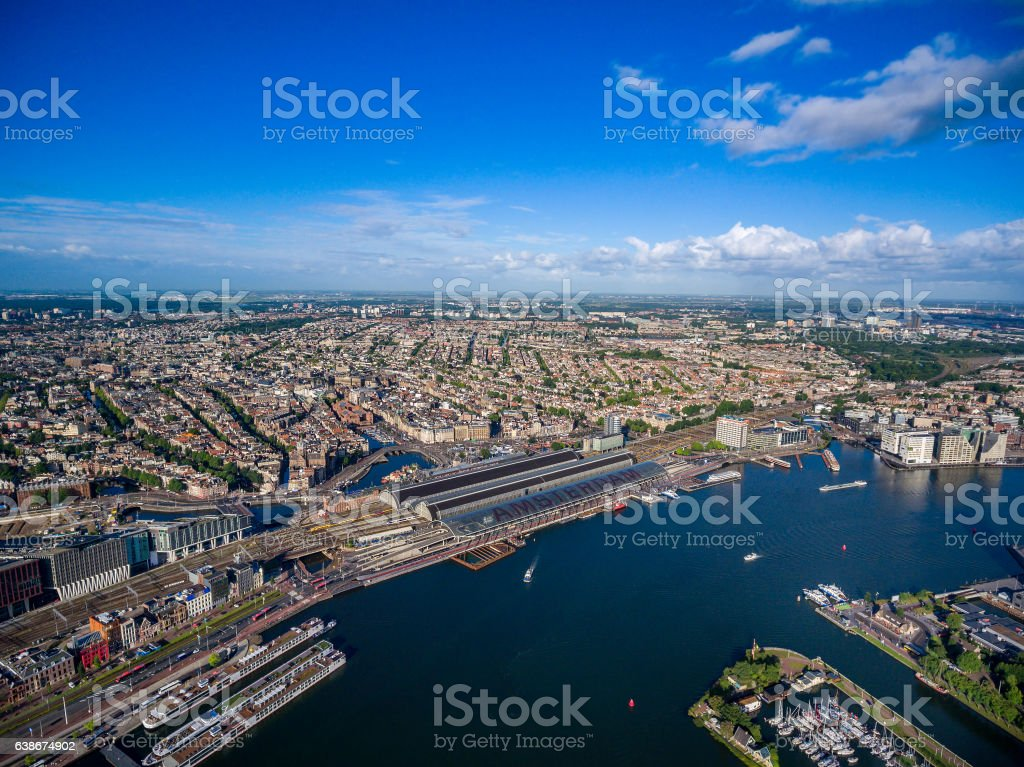 City aerial view over Amsterdam stock photo