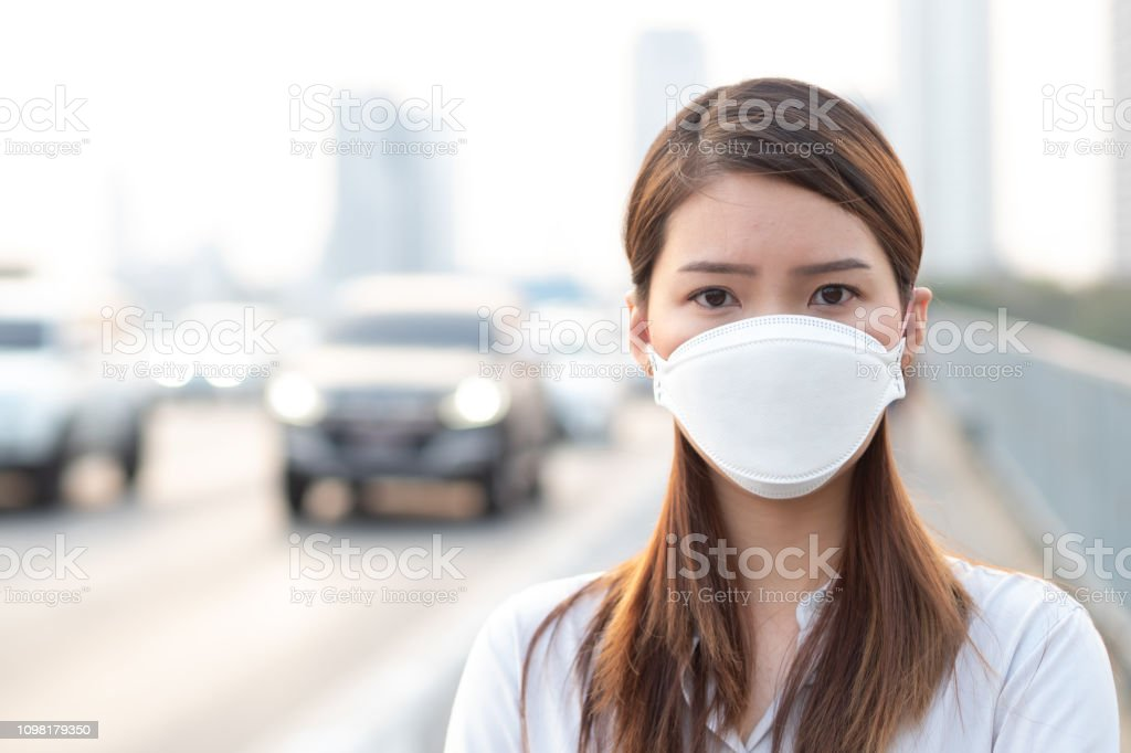 N95 City Up Wearing Woman Close Pollution Mask To Air Concept