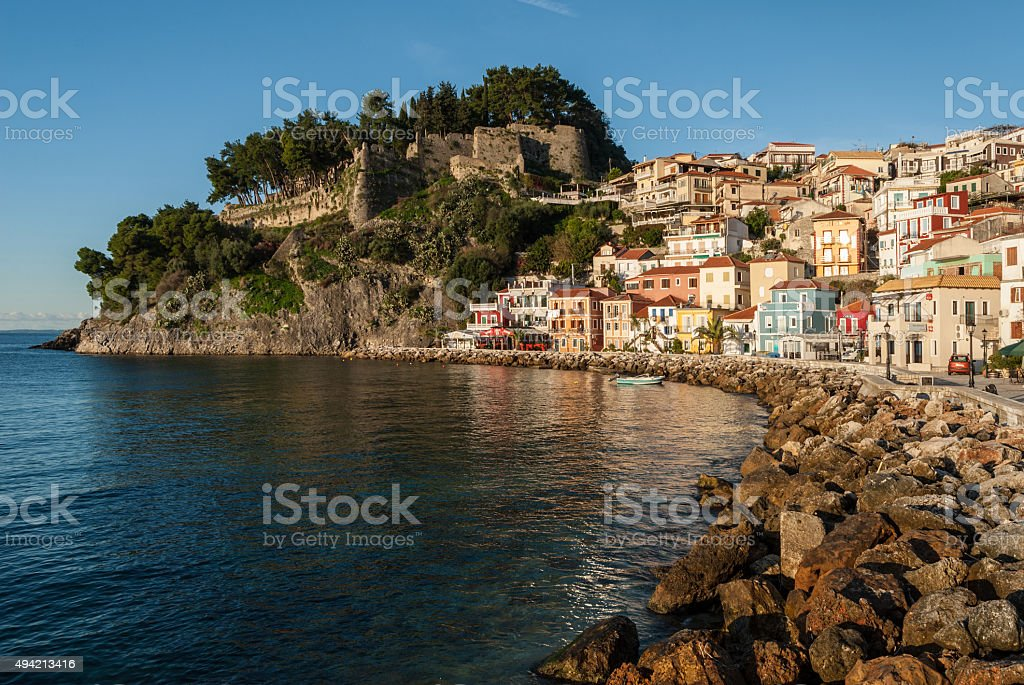 City and castle in Greece stock photo