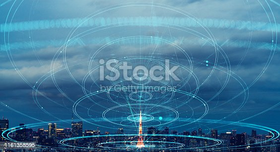 istock City and communication network concept. 1161358595