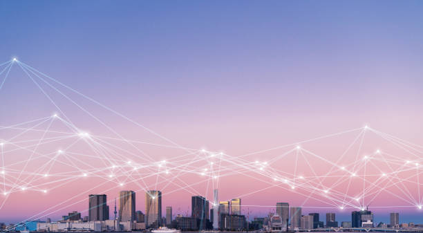 City and communication network concept. stock photo