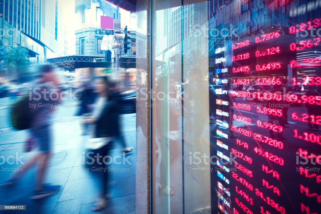 City and currency board stock photo