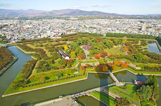 City and Goryokaku Park. stock photo