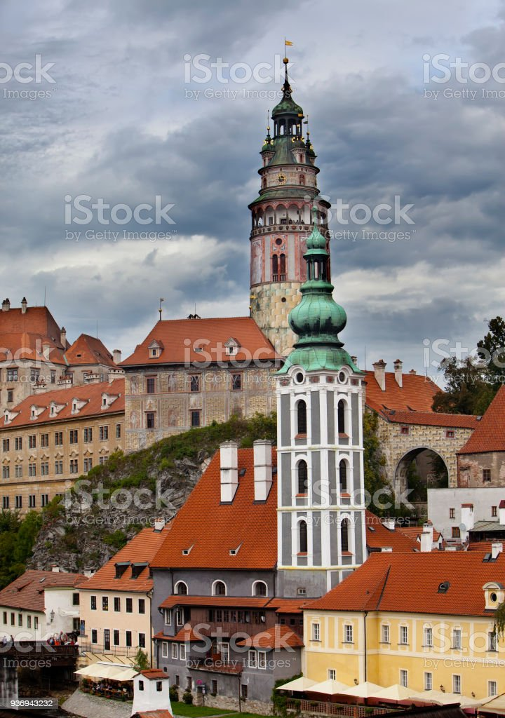 city and historic castle in Cesky Krumlov stock photo