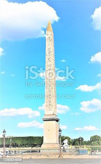 Luxor Obelisk monument on Place de la Concorde in Paris, capital of France