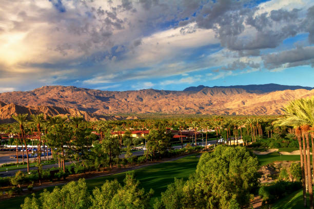 City and mountain view of Indian Wells, California in the Coachella Valley stock photo