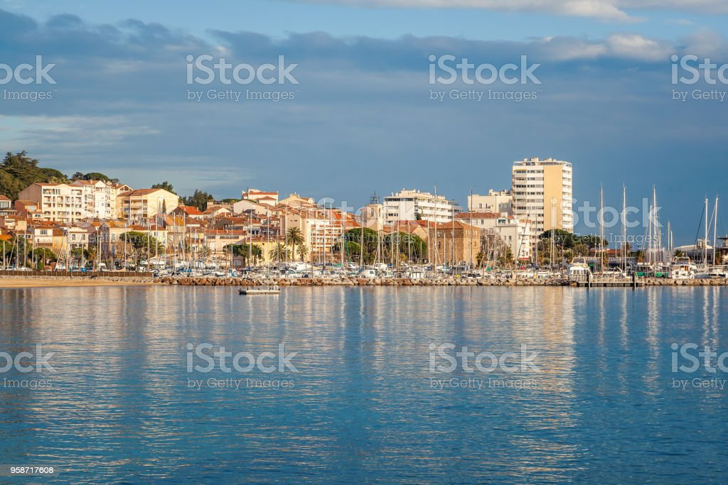 City and sea landscape, the city of Saint-Maxime on the Cote d'Azur, Var, France, a popular destination for summer holidays in Europe stock photo