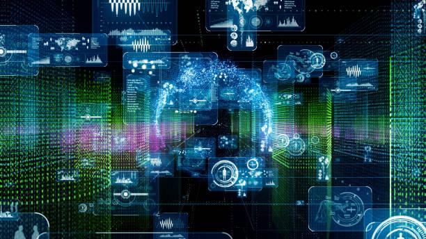 city and technology. computer graphics. - procedura medica evento foto e immagini stock