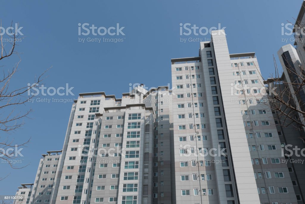 City apartment building stock photo