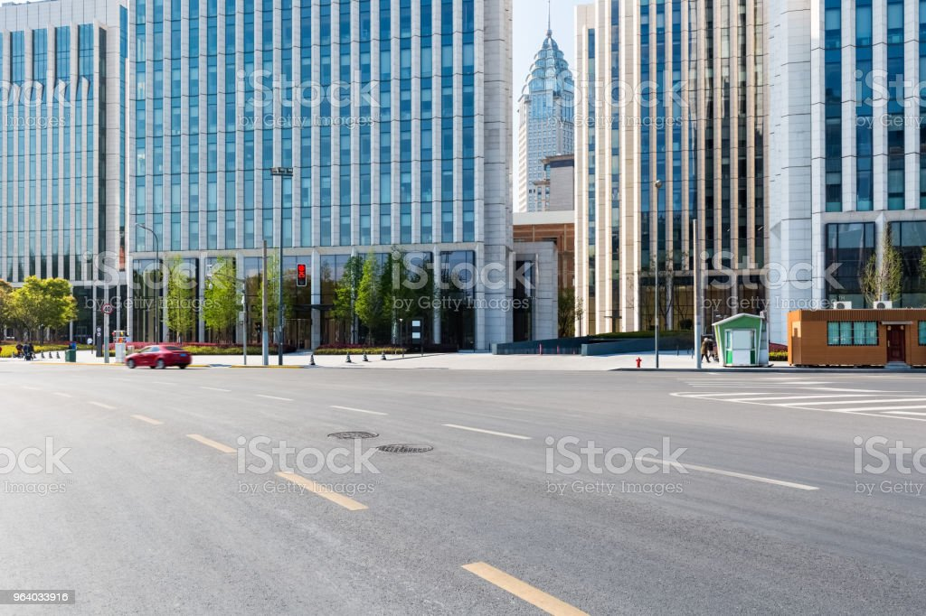 city asphalt road with modern office building - Royalty-free Architecture Stock Photo